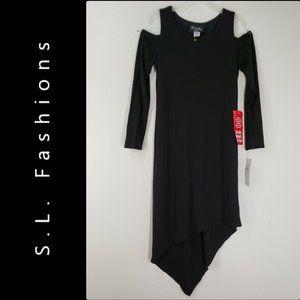 SL Fashions Women's Cold Shoulder High & Low Dress